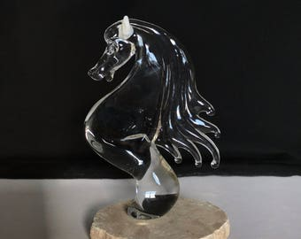 Handblown Glass Horse Head Sculpture