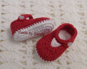Crochet Baby Girl Ankle Strap Shoes 0-3 mo - ready to ship