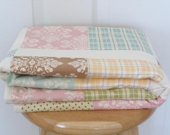 Bunny Hill Quilt: Ready to ship, Baby quilt, Handmade, bedding, Crib Quilt, Baby Shower gift, patchwork quilt,pink, blue, yellow, and green.