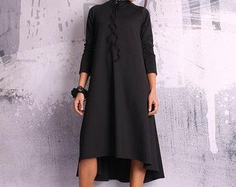 A line dress, loose tunic, maternity dress, tunic dress, long sleeved dress, black tunic, black dress - UM-049-PU