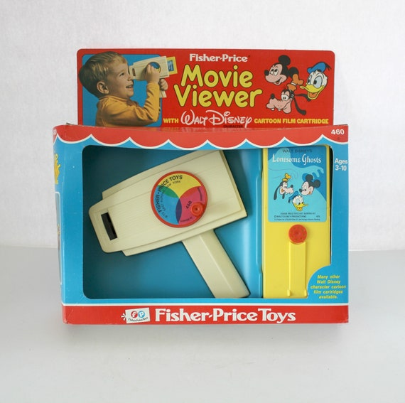 Vintage Fisher Price Movie Viewer in Box, 1973 with Walt Disney Cartoon Cartridge Lonesome Ghosts