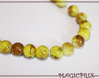 Set of 25 stained 8 mm yellow glass beads & Brown 1101