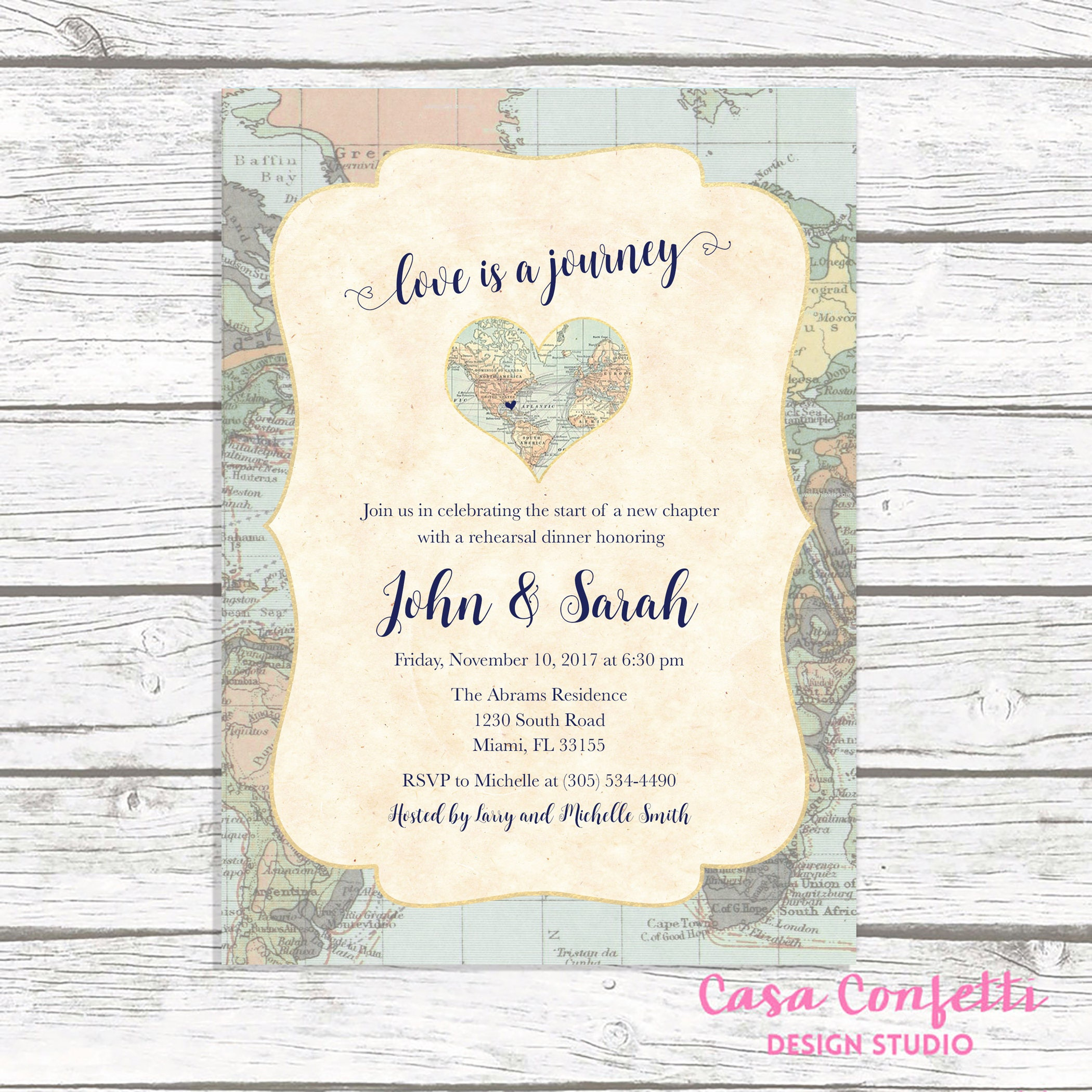 Map Travel Rehearsal Dinner Invitation, Love is a Journey, Adventure ...