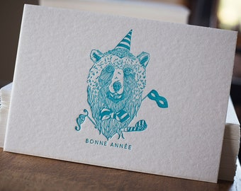 Letterpress greeting card happy new year