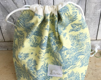 Yellow Toile Knitting Project Bag - Toad Hollow bag, Crochet Project bag, drawstring bag, perfect gift for him or her,gift for knitter