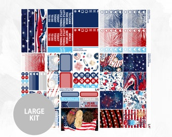 Stars & Stripes FOIL Large Kit | Silver Foil | Matte Glossy Planner Stickers