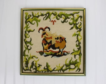 Vintage Framed Needlepoint of the Zodiac Sign Aries