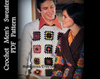 Mens Crochet Sweater Pattern - Granny Square Pullover - Sizes 36 to 42 - PDF 11214556