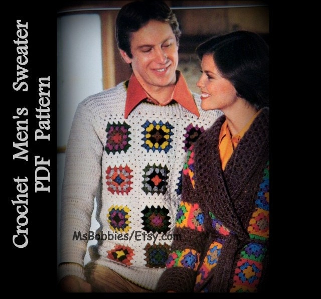 Mens Crochet Sweater Pattern Granny Square Pullover Sizes
