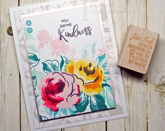 You Define Kindness Rose Floral Fancy Greeting Card Handmade in Pink Yellow Green for Friend Sister Mom Daughter Aunt Coworker