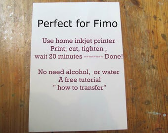 Polymer Clay Transfer Paper, Design Your Own, Fimo Easy Transfer Paper, 1 Sheet of Paper, Ink Jet Print at Home, Decal Paper, Image Transfer