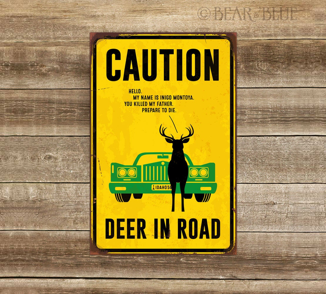 Poster Print: Deer in Road Humor 4 Sizes Available on