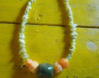 new jade, antique glass bead, and acrylic orange creme necklace