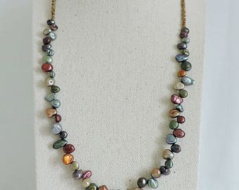Keishi pearl necklace, freshwater pearl necklace,  beaded necklace
