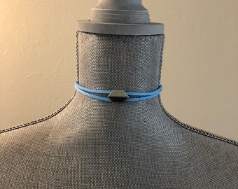 Trendy Statement Bright Blue Genuine Suede Choker Necklace Silver