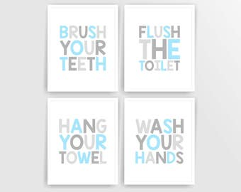 Blue Grey Printable DIY Kids Bathroom Art, Brush, Flush, Hang, Wash, Set of 4, 8x10 JPG files  ( 001BA810 ) ( cc002)