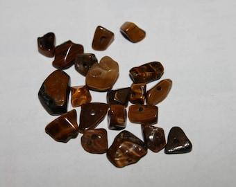 Precious semi stone chips: set of 20 Tiger eye