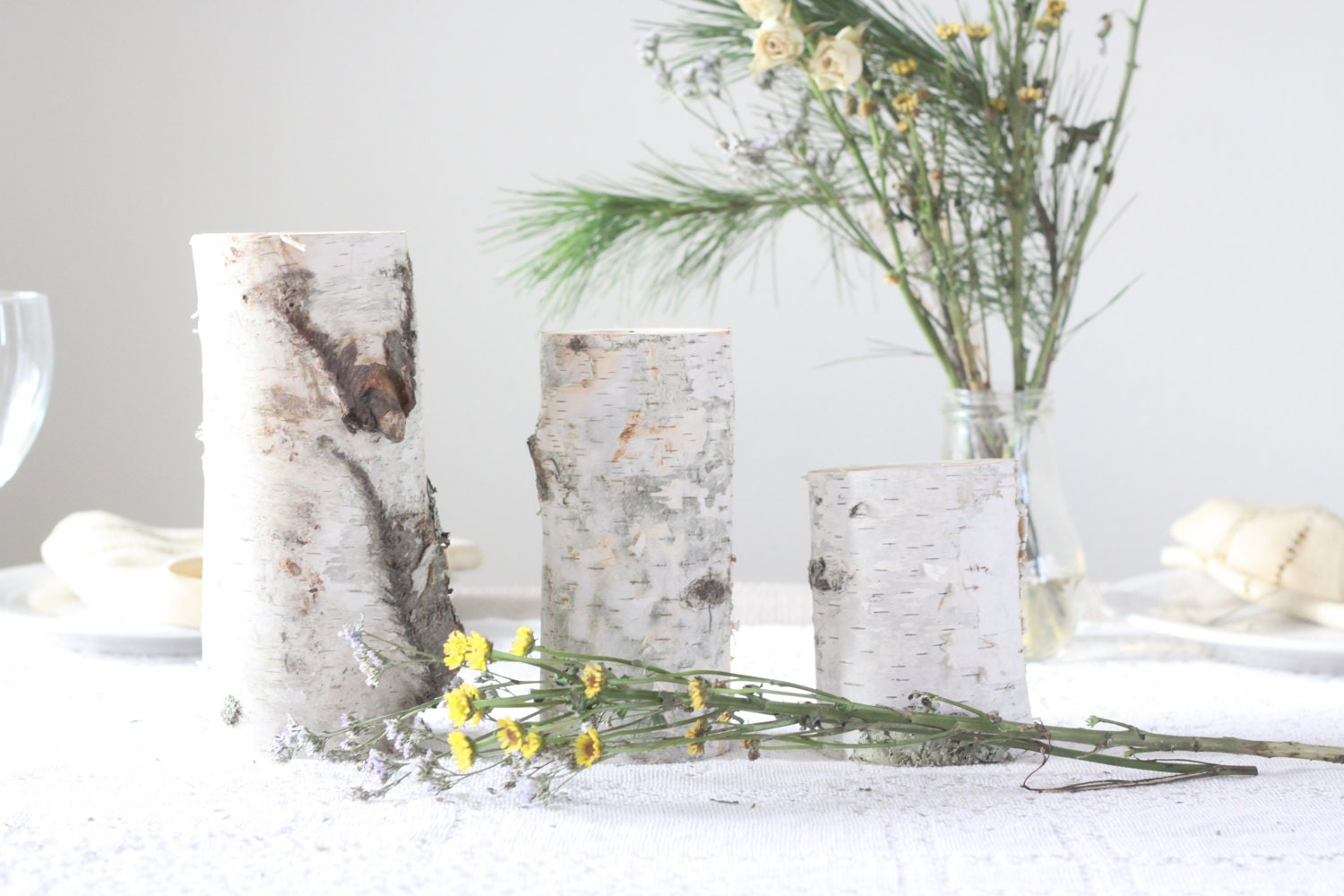 Birch Wood Wood Candle Holders Centerpieces Wedding