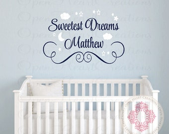 Sweetest Dreams Personalized Name Vinyl Wall Decal - Monogram Wall Lettering for Baby Nursery with Clouds Star and Moon BA0382