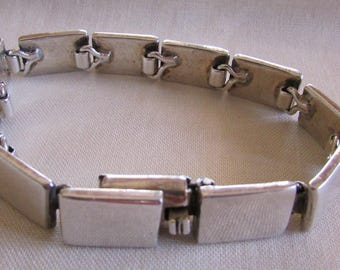 Sterling Silver Rectangles Link Bracelet from Mexico