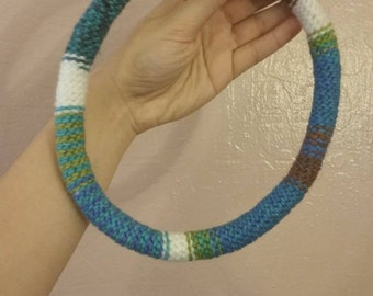 Earth tones cord necklace - blue