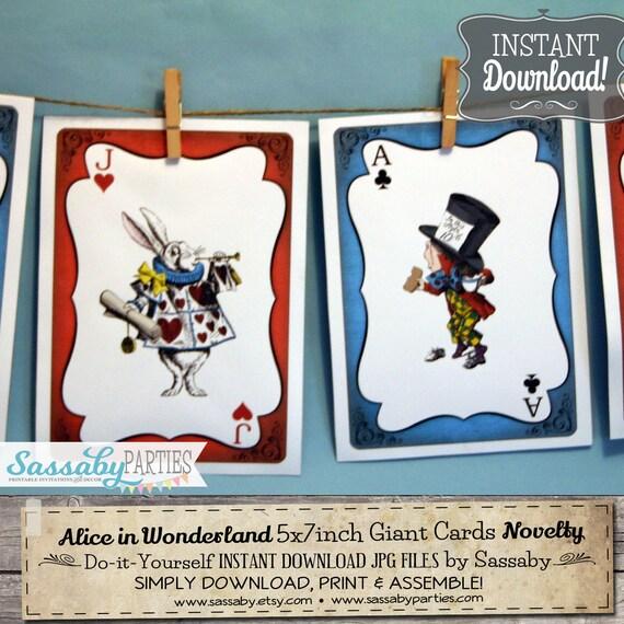 Alice In Wonderland Giant Cards INSTANT DOWNLOAD Printable