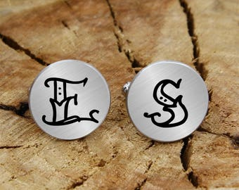 Engraved monogram cuff links, personalized engraved initial, engraved cufflinks, custom personalized cufflinks tie clip, wedding cufflinks
