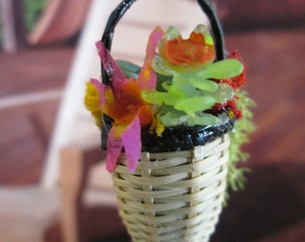 Dollhouse Accessory - OOAK 1:12 scale hanging plant basket