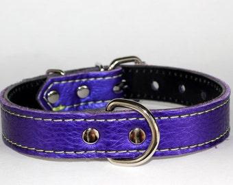 "Italian Leather Purple Dog Collar - Italian Leather Dog Collar - Purple Leather Dog Collar - 1"" Purple Dog Collar With Green Stitching"