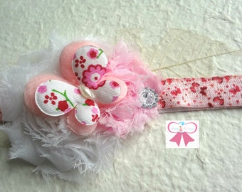Newborn  Headbands, Pretty Butterfly Headband, Pink Butterfly shabby Baby Girls Headbands, Baby Photo Props, Birthday Headband