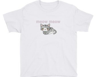 Meow Meow Kitty Cat Youth Short Sleeve T-Shirt