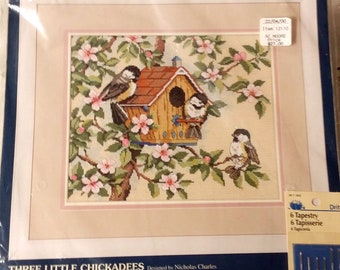 1995 Sunset Needlepoint Three Little Chickadees 1995 Dimensions Designed by Nicolas Charles Needlepoint Kit Made in the USA