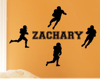 Vinyl Wall Decal: Personalized Name with Football Players Silhouettes for Sports Decor Bedroom