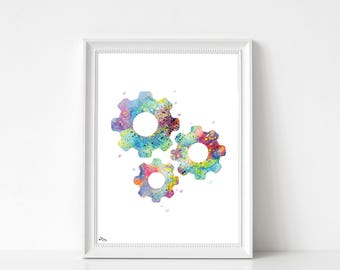 Wheels print, wall decor, poster, A4 and A3, multicolor, birthday gift idea