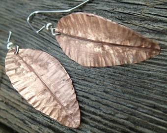 Copper Leaf Earrings - foldformed  and hammer textured recycled copper