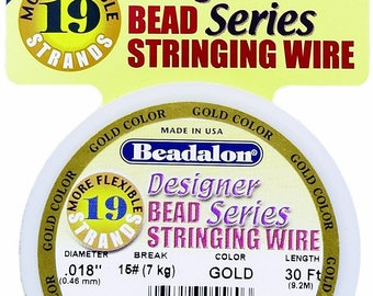 Beadalon Wire - 19 Strand - Gold - .018 inches - 30 feet - 1 Roll