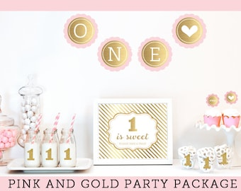 First Birthday Girl Party Ideas 1st Birthday Girl Decoration Pink and Gold First Birthday Party Girl Birthday Decorations KIT (EB4011FY)