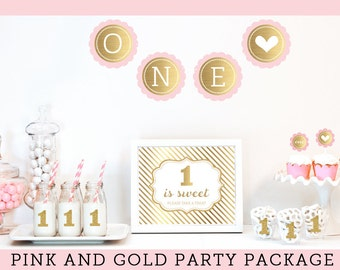 First Birthday Girl Party Ideas 1st Birthday Girl Decoration Pink And Gold  First Birthday Party Girl