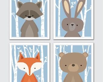 Woodland Animal Baby Prints, Woodland Print Set of 4, Forest Decor Nursery, Forest Art Nursery, Nursery Forest Print, Baby Animal Prints