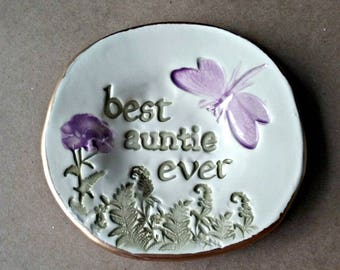 Ceramic AUNTIE Trinket Dish Ring Bowl  edged in gold  Mothers day