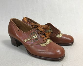 1930s Heels Brogue Peter's Oxford Lace Up Reptile Skin Size 4 1/2  NOS Deadstock