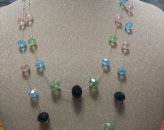 Multi Color Crystal Two Strand Necklace