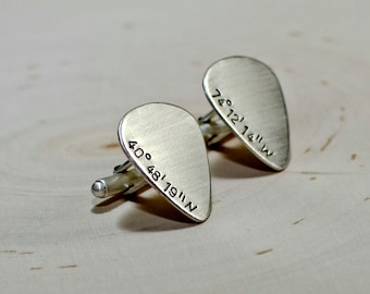 Sterling silver guitar pick cuff links rocking personalized latitude and longitude coordinates - Soild 925  CL706