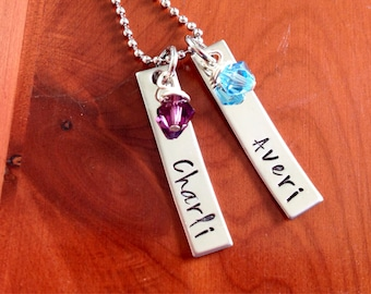 Names on 2 Stainless Steel Bars with 2 Birthstones Necklace- Hand Stamped- Stainless Steel