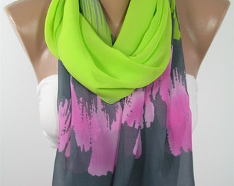 Scarf  Fashion Accessories  Scarf Green Pink Gray Scarf Fashion   Gift  Holiday clothing gift Gift For Women Gift For Her Gift For Mom