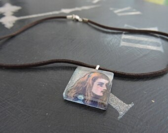Alice In Wonderland ALICE Glass Tile Necklace (Brown)