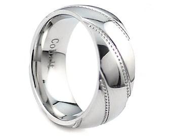 Cobalt Wedding Band,Dome Cobalt Ring,Ladies Cobalt Ring,Custom Sideway Grooved,Milgrain Design,Anniversary Ring,9mm,Milgrain Ring
