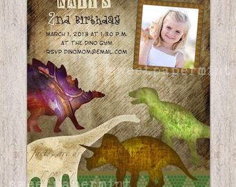 Dinosaur Birthday Invitation Vintage Card - Customizable - printable