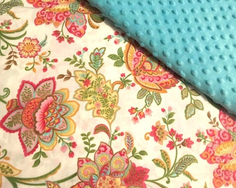 Baby Car Seat Canopy COVER or NURSING Cover: Paisley Flowers on Cream with Teal Aqua Minky, Personalization Available