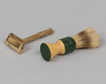 Vintage shaving brush / razor Ever Ready brush boar bristles with bakelite handle Single edge Gem razor Nice condition